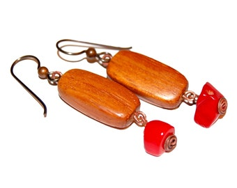 Bayong Wood and Coral Haiku Earrings