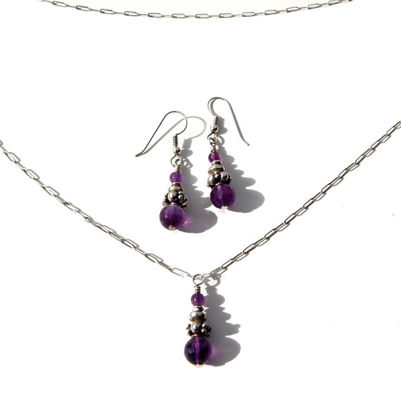 Dainty Necklace Earring Set - AAA Amethyst and Bali Sterling Silver