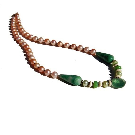 Very Unique Pearl Necklace with Fluorite, Jade, Variscite, Sterling Silver and Bone