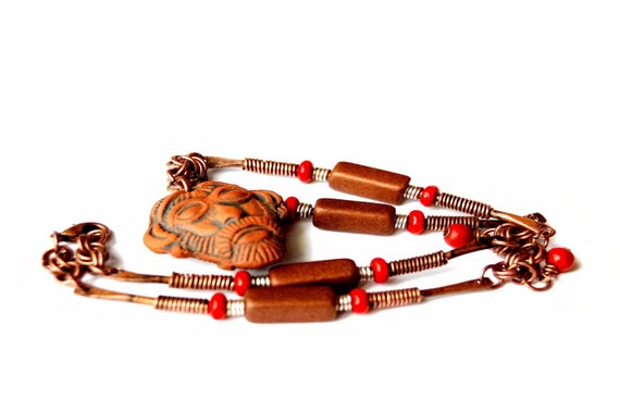 Indigenous Tribal Wood, Ceramic, & Oxidized Copper Link Necklace (Medicine Man)