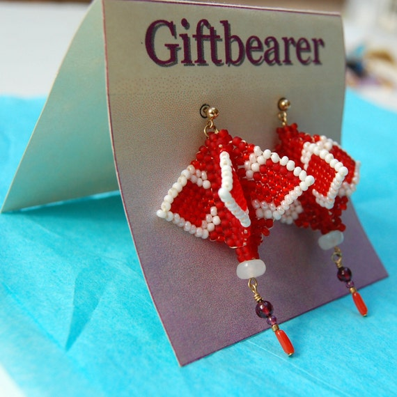 Beadwoven Earrings Red and White Japanese Lantern Style LIMITED EDITION
