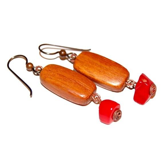 Bayong Wood and Coral Haiku Earrings