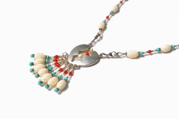 Broken Heart, Heart Necklace, Hollow Form, Turquoise Beaded, Bone Necklace, Coral Necklace,  Aquamarine Necklace