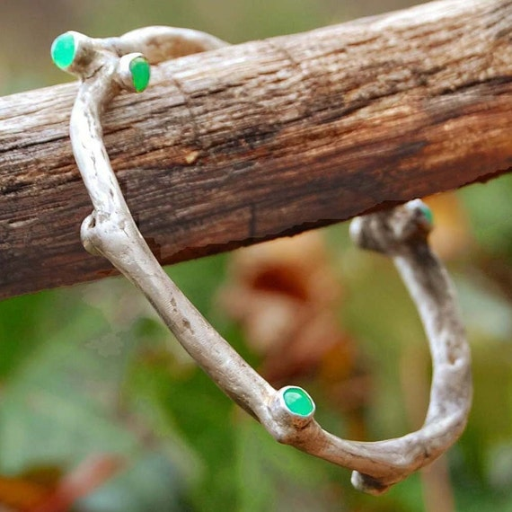 Fine Silver Early Budding Vine Bracelet With Chrysoprase Cabs (Reserved for Amychuck)
