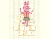 hopscotching bunny / limited edition screenprint