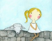 PRINT - Girl with Sheep