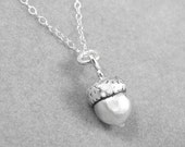 Acorn solid sterling silver charm pendant necklace