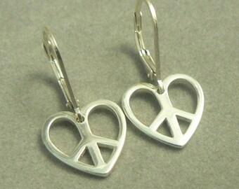 Peace Symbol Sterling Silver Heart Shaped Charm Earrings