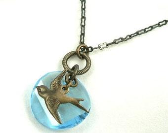 Sparrow's Flight natural brass bird charm necklace