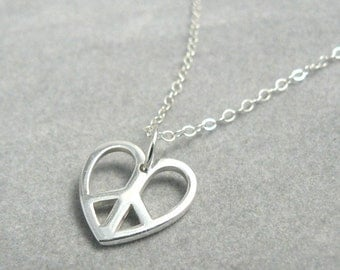 Peace Symbol Heart Sterling Silver Charm Necklace Love Jewelry