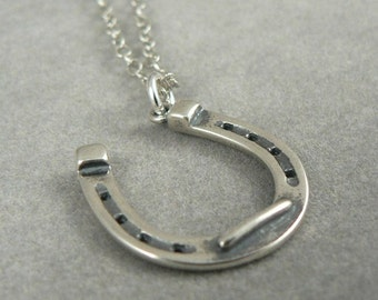 Horse Shoe Sterling Silver Necklace Lucky Charm Jewelry