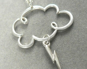 Lightning Storm Cloud Sterling Silver Charm Clouds Necklace Jewelry