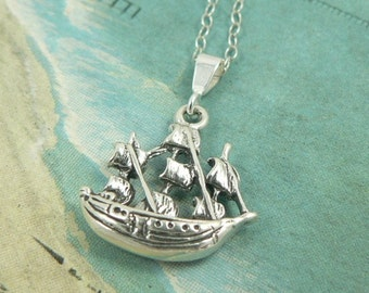 Pirate Ship Sterling Silver Boat Charm Necklace Avast Me Hearties, 16 inches