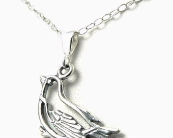 Sparrow sterling silver bird charm necklace jewelry nature