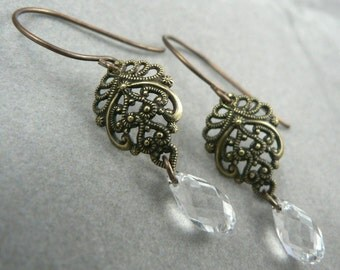 Belle Nuit - natural brass and Swarovski crystal drop earrings