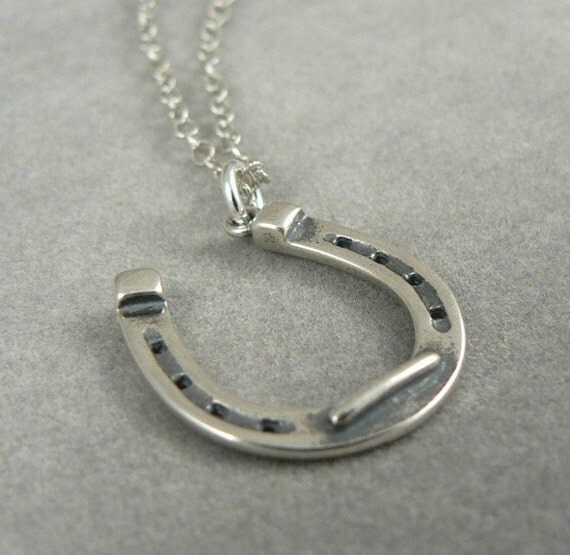 Horse Shoe Sterling Silver Necklace Lucky Charm Horseshoe Good Luck Jewelry