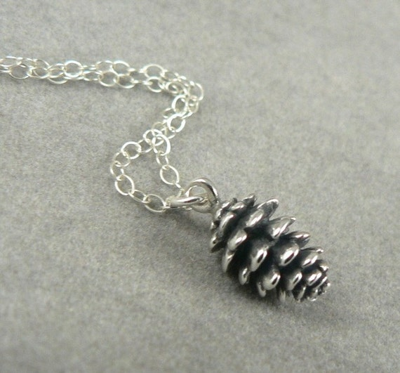 Tiny Pine Cone sterling silver charm necklace woodland nature jewelry