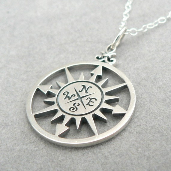 Compass Rose Sterling Silver Charm Necklace Nautical Pendant