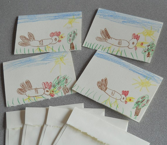 Seven Year Old Daughters Hand Drawn Set of Four Chicken Note Cards