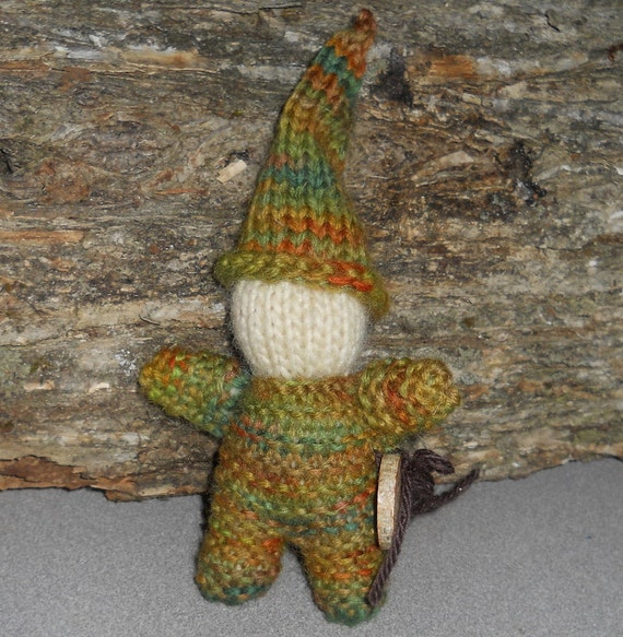 Waldorf Natural Gnome Toy Hand Knit Wool in Earthy Greens, Browns, Oranges