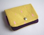 Lil' Pouch - Printed Pink Raindrops on Mustard Yellow