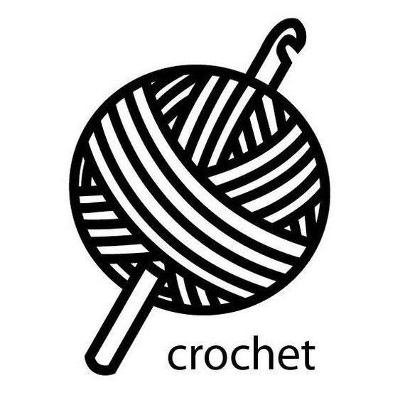 Line Drawing Yarn : Crochet vinyl decal sticker by azurerocket on etsy