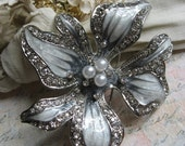 Orchid flower - sparkle rhinestone and pearls for wedding bridal hair comb brooch pin shoe clip charm pendant cake decor