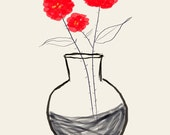 AshleyG illustration print with flowers - Sending You Flowers - red group