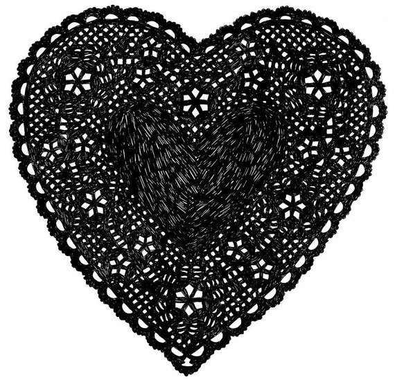 Heart Doily Art Print by Ashley G - Much Love (Black)
