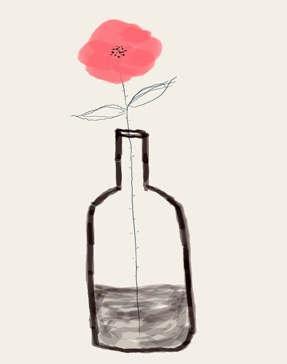 AshleyG illustration print with flowers - Sending You Flowers - pink single