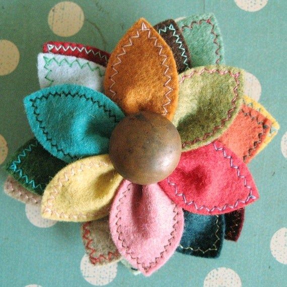 Prism Flower wool felt pin