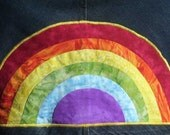 SUPER SALE Jean Skirt with Rainbow Applique one of a kind