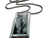 Black and White Stained Glass Necklace