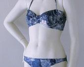 Navy and Cream Toile Tie Neck Bandeau Bikini in S-M-L