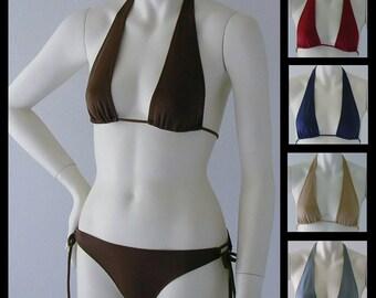 Sliding Halter Bikini Top and Tie Bikini Bottom in Brown, Navy, Burgundy, Gray or Nude in Sizes to DD