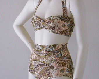 High Waisted Bikini Bottom and Retro Bandeau Top in Regency Paisley in S.M.L.XL