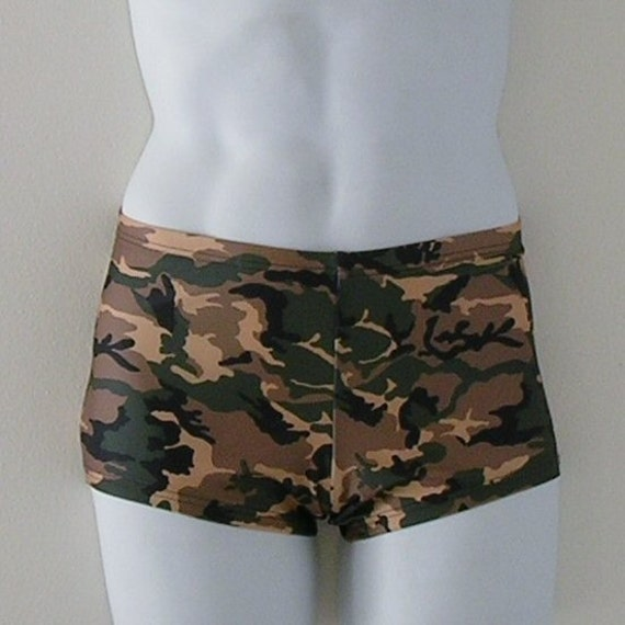 Mens Square Cut Swimsuit in Camouflage Print in S.M.L.XL