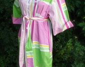 vintage pink and green designer shirt dress with pockets and belt 12p FREE SHIPPING