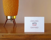 Let's Hump wordy note card