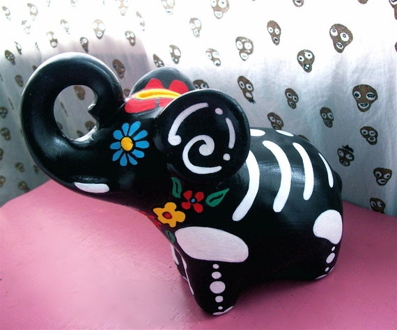 Day of the Dead Elephant Bank Hand Painted Halloween