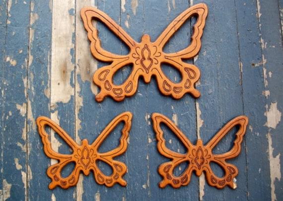 Set of 3 Butterflies Retro Wood Wall Hangings Hippie Bohemian