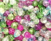 80 grams Glass Crackle Beads - Mixed Colors - Over Stock Sale - Great Deals