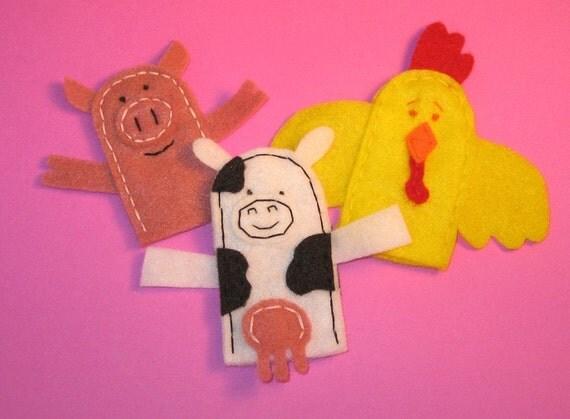 Farm Critters Felt Finger Puppets