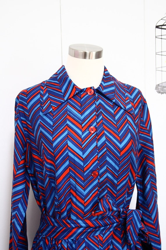 Vintage 60s Harrod's Maxi Dress Psychedelic Chevrons in Red and Blue XL