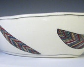 chevron feather oval serving bowl