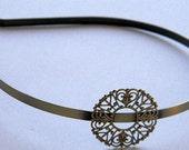 Antique Brass Round Filigree Flower Pad Headband