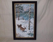 Vintage 1950's paint by numbers Deer winter scene