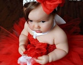 Red Rose Swarovski Crystal Bling Center Interchangeable Clip Crochet Headband UPIC COLOR HEADBAND Fits Ages Newborn through Adults