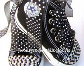 Swarovski Converse Baby Bling Crystal Black and White Converse Hi-Top Sneakers