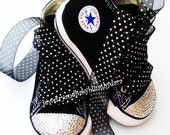 Baby Infant Toddler BLACK WHITE Crystal Bling Chuck Taylor All Star Black Hi-Tops Sneakers Shoes